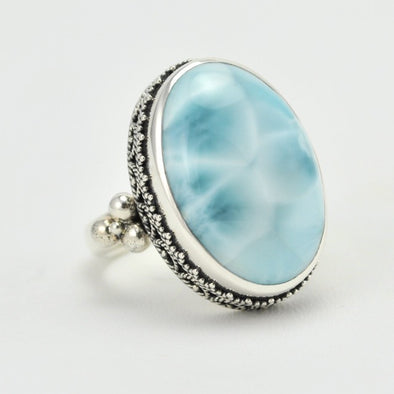 Large Oval Larimar Ring