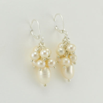 Pearl Cluster Dangle Earrings