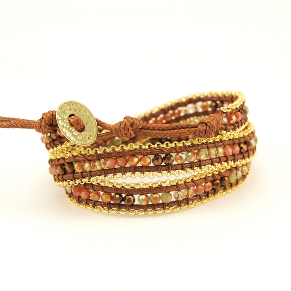Crystal and Waxed Cotton Wrap Bracelet