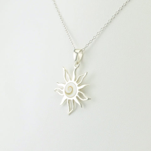 Sterling Silver Shiva Shell Sun Necklace
