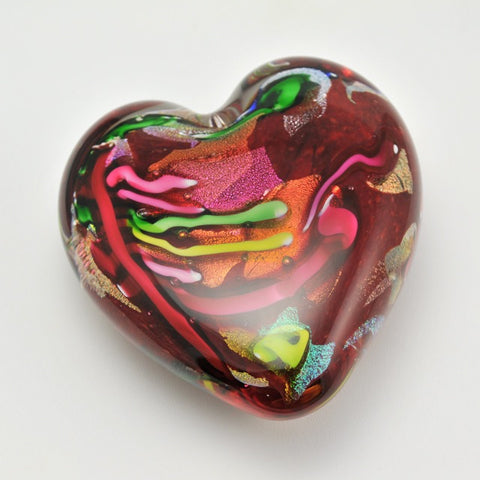 Heart of Fire Glass Paperweight by Glass Eye Studio