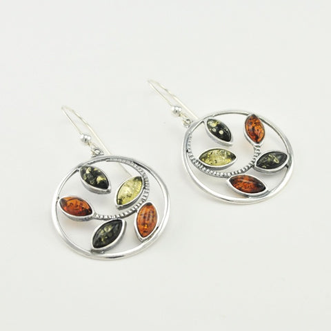 Multiple Colored Amber Marque Earrings