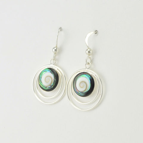 Sterling Silver Abalone Shiva Shell Earrings