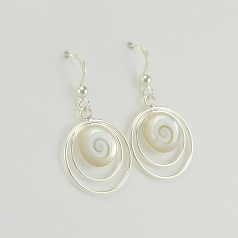 Sterling Silver Mother of Pearl Shiva Shell Earrings
