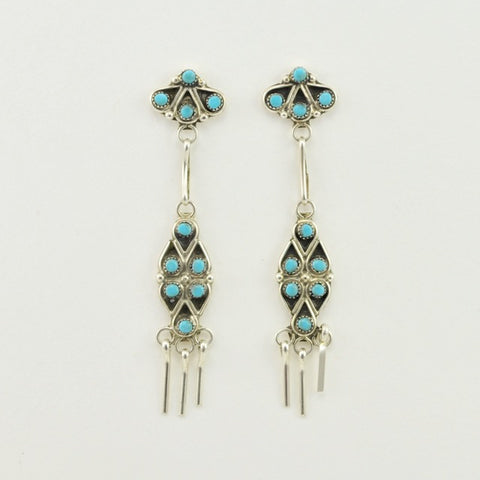 Sterling Silver Zuni Turquoise Dangle Earrings
