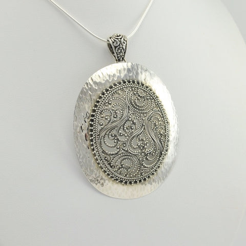 Sterling Silver Oval Bali Pendant