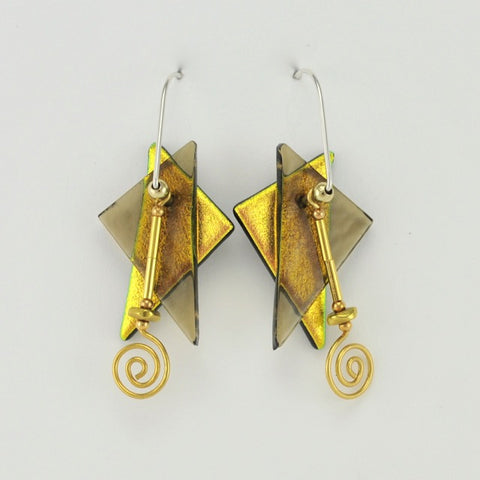 Handmade Fused Glass Smoky Triangles Dangle Earrings by DeVeer Designs