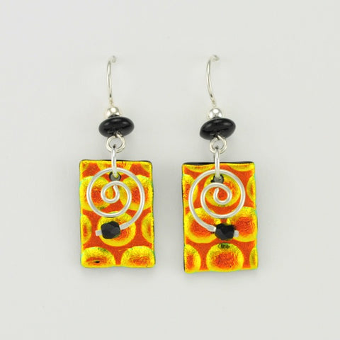 Handmade Fused Glass Radium Amber Dangle Earrings by DeVeer Designs