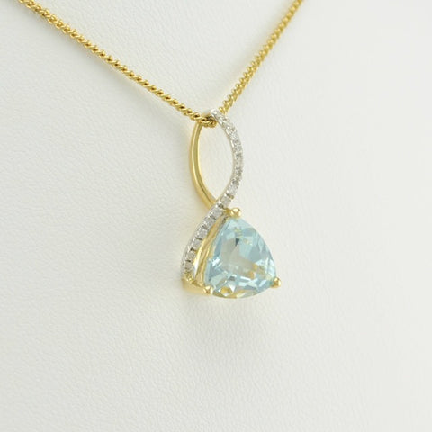 14k Gold Aquamarine Trillion Diamond Pendant