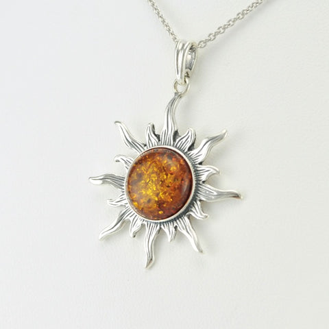 Sterling Silver Amber Sun Pendant