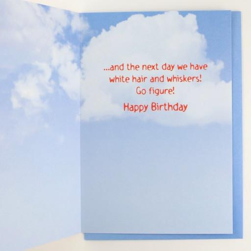 Next Day We Have White Hair And Whiskers Birthday Card