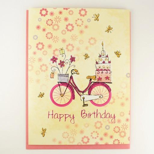 Cake and Flowers on Their Way Birthday Card