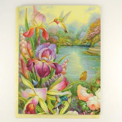 Iris and Hummingbird Birthday Card