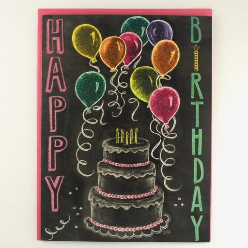 Happy Birthday Cake and Balloon Card