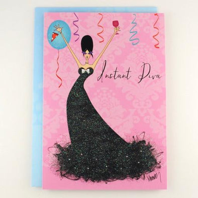 Instant Diva Birthday Card