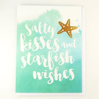 Salty Kisses and Starfish Wishes Birthday Card