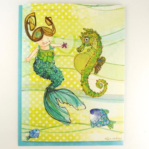 Mermaid and Seahorse Birthday Card