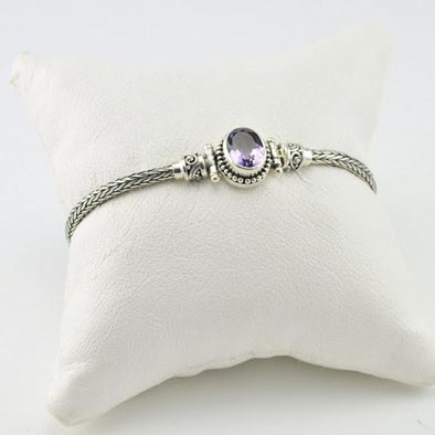 Sterling Silver Amethyst Oval Toggle Bracelet