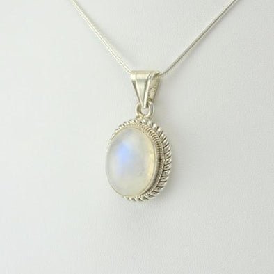 Sterling Silver Rainbow Moonstone 12x16mm Oval Pendant