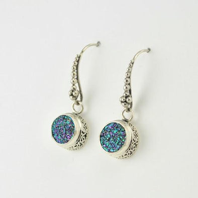 Sterling Silver Peacock Druzy Bali Dangle Earrings