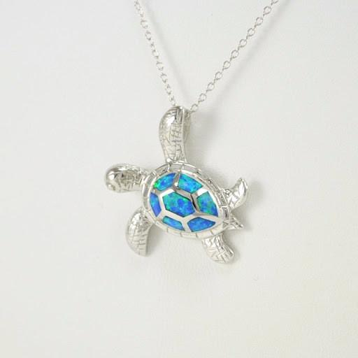 Sterling Silver Created Opal Sea Turtle Necklace