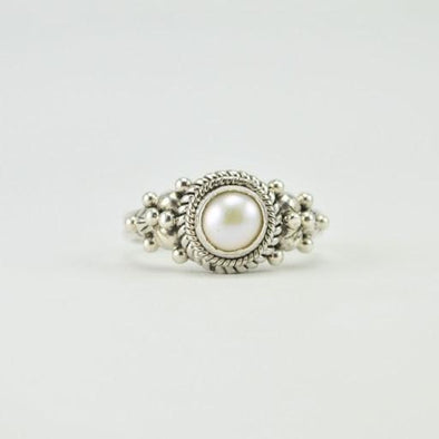 Sterling Silver Pearl 6mm Round Ring