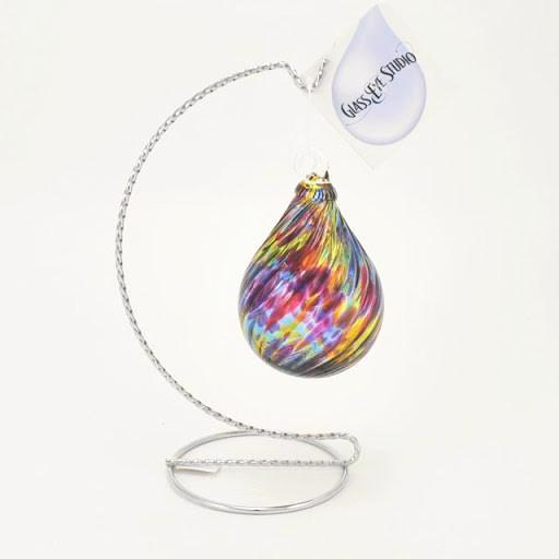 Glass Eye Raindrop Ornament Rainbow Twist