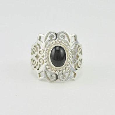 [5479] sterling silver black star diopside 6x8mm wide filigree oval ring size 6