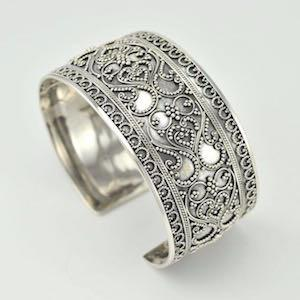 Sterling Silver Granulated Scroll Wide Cuff Bracelet