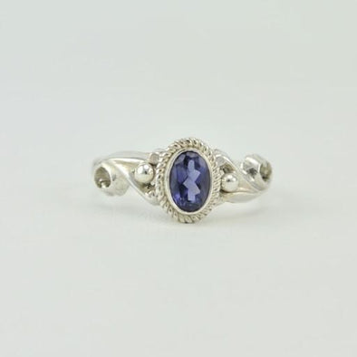 [5455] sterling silver iolite 4x6mm oval ring size 6