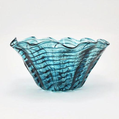 Glass Teal Ripple Large Floppy Bowl