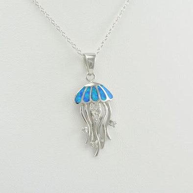 Sterling Silver Created Opal Cubic Zirconia Jellyfish Necklace