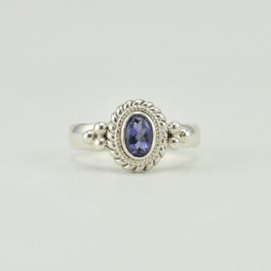 Sterling Silver Iolite Oval Ring Size 6