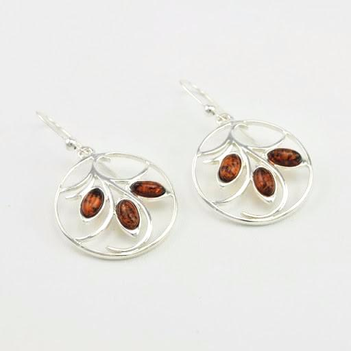 Sterling Silver Baltic Amber Circle Dangle Earrings