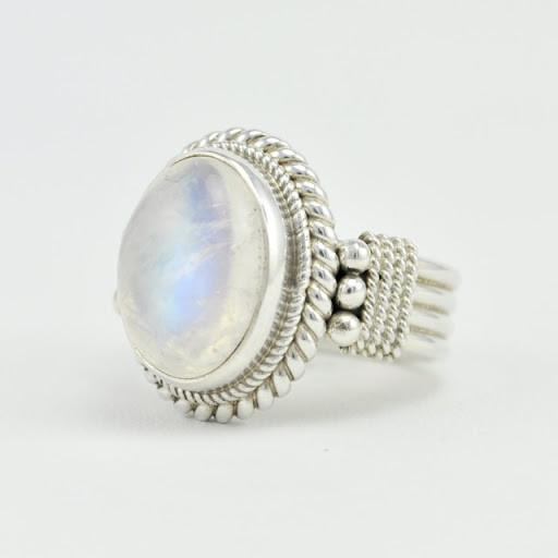 Sterling Silver Rainbow Moonstone Oval Ring Size 7