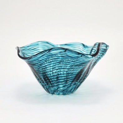 Glass Teal Ripple Mini Floppy Bowl