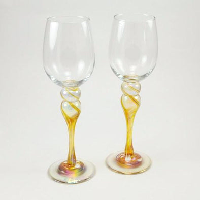 Pair of Gold Wine Glasses