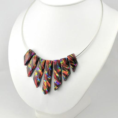 "Rainbow Red Dichroic Glass 18"" Cleopatra Necklace"