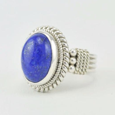 Sterling Silver Lapis 10x13mm Oval Ring Size 7