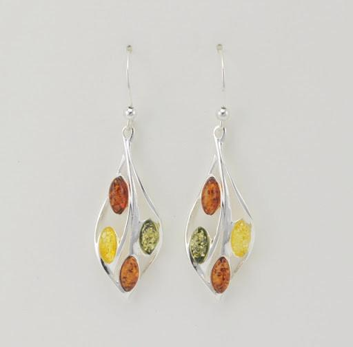 Sterling Silver Multicolored Baltic Amber Marquise Earrings