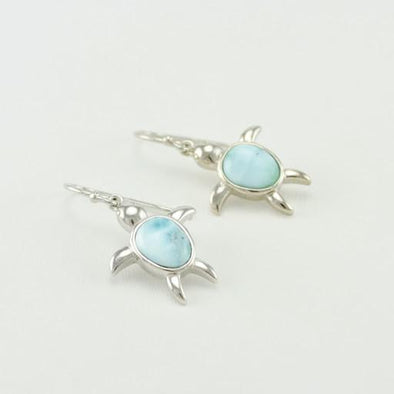 Sterling Silver Larimar Sea Turtle Dangle Earrings