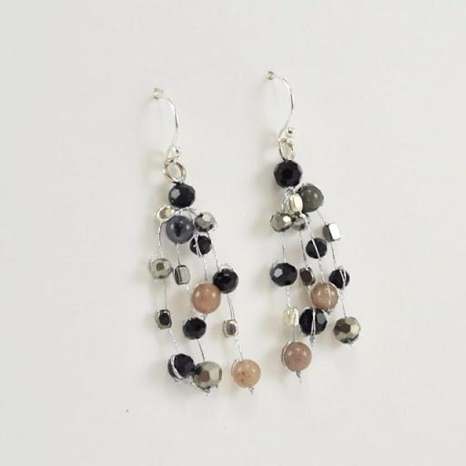 Sterling Silver Japanese Silk Gems Crystals Earrings