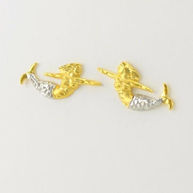 Sterling Silver Vermeil Two Tone Norfolk Mermaid Post Earrings