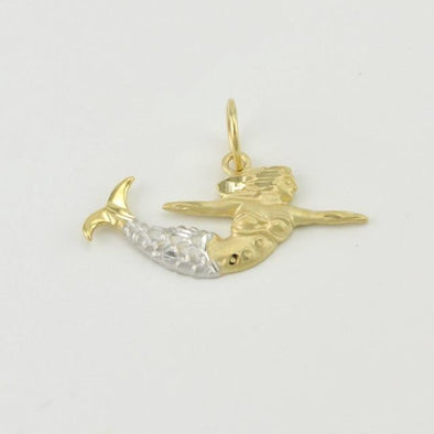 14k Gold Two Tone Norfolk Mermaid Charm