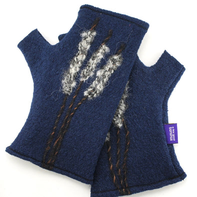 Cashmere Fingerless Gloves Navy with Cattails
