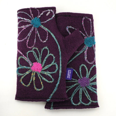 Cashmere Fingerless Gloves Plum with Flowers
