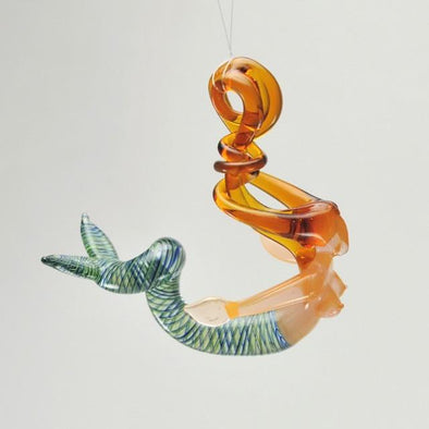 Glass Blonde Mermaid Spiral Ornament