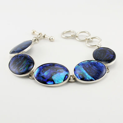 Blue Abalone Oval Link Toggle Bracelet