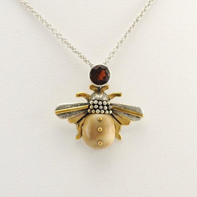 Sterling Silver Fossil Ivory Garnet Bee Necklace