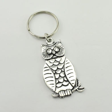 Pewter Owl Key Ring
